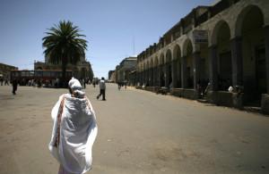 A central square in the Eritrean capital city of Asmara on May 11, 2008. (Radu Sigheti/Reuters)