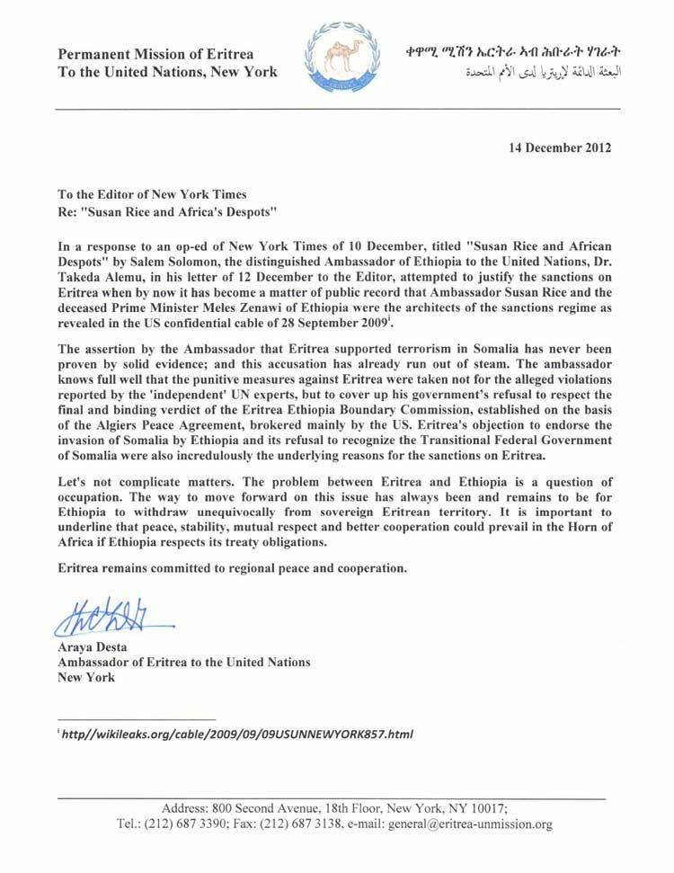 Eritrean Mission to the UN- A Response Letter to the Ethiopian Ambassador's Reply to an Op-Ed Piece in the New York Times