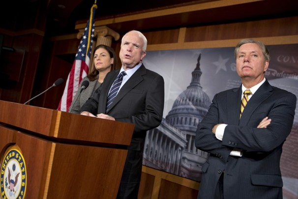 John McCain (R-Ariz.) and Lindsey O. Graham (R-S.C.)