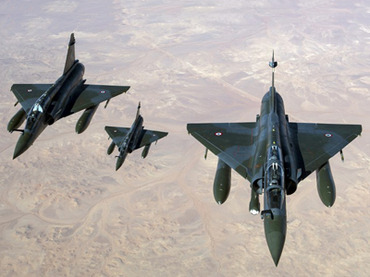 French Mirage 2000 D aircrafts flying over Mali
