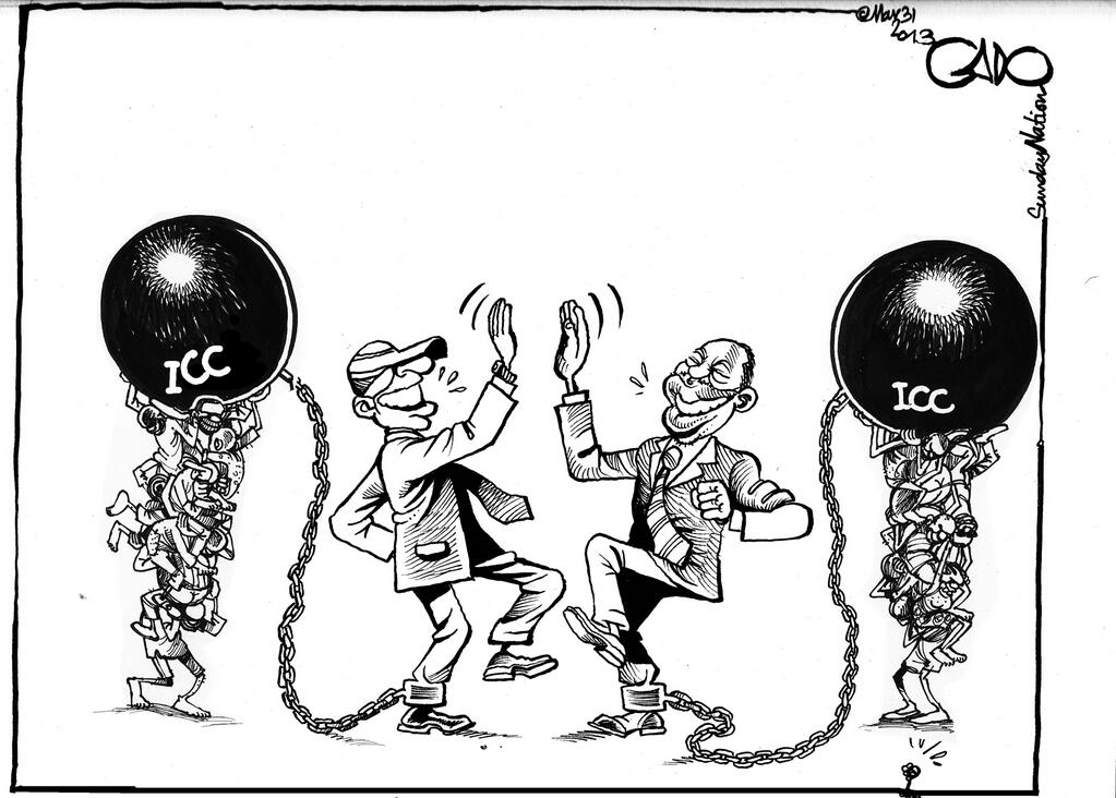 Uhuru Kenyatta & William Ruto celebrating their election victory via Gado Cartoons
