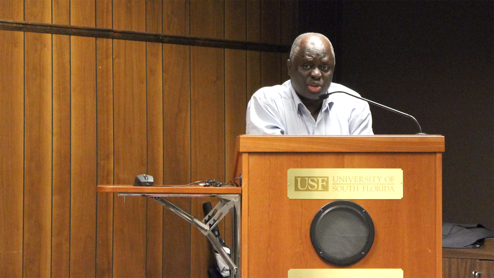 Edward Kissi, Associate Professor in USF Tampa's Department of Africana Studies, organized and moderated a panel at USF Tampa to discuss the Ebola outbreak in West Africa| Photo taken by T.J. Greaney