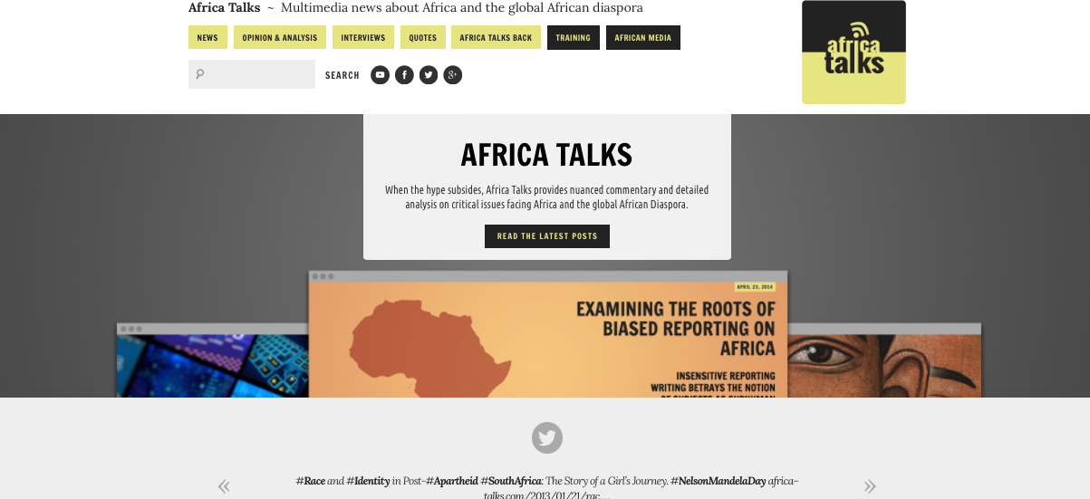 The new Africa Talks homepage.