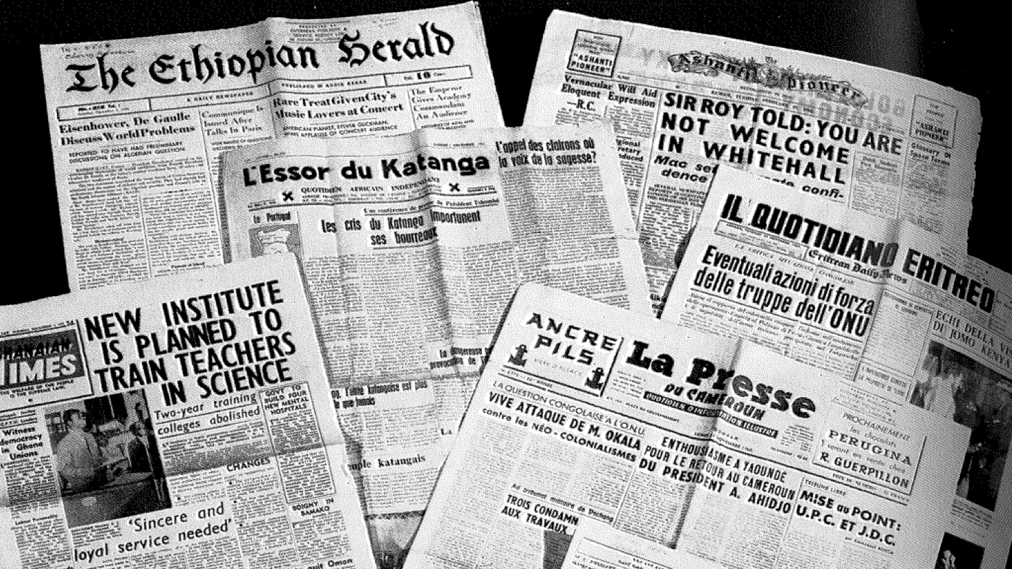 A collection of African newspapers from the 1960s.