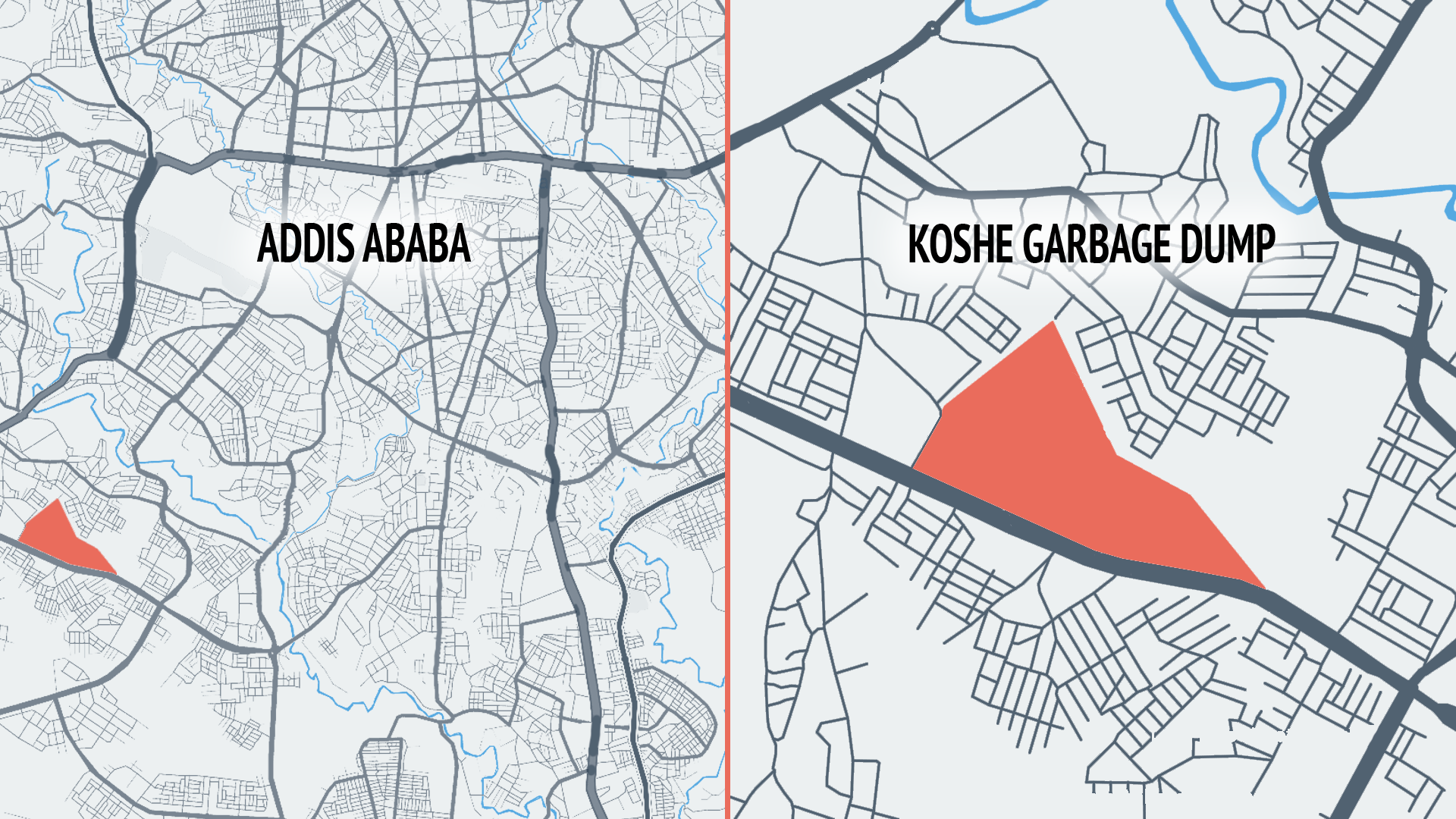 Located in Kolfe Keranio, Addis Ababa's most populous subcity, Koshe is a sprawling landfill, spanning about 1 kilometer along its longest side.
